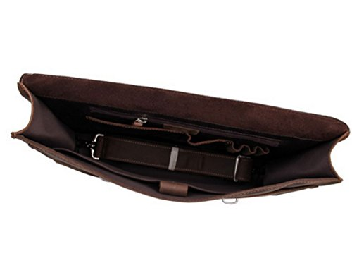 loyofun Marrón Hombre Real de piel auténtica para el hombro maletín Laptop Bag