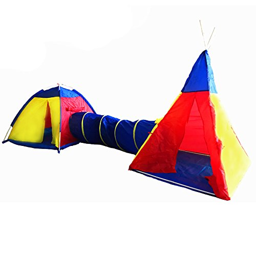Tunnel Tent for Kids - 2 Tents and Tunnel Indoor/Outdoor Play Tent by Sure Luxury