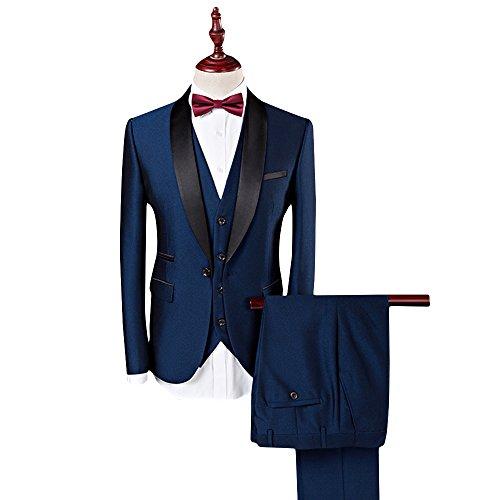 WEEN CHARM Men's 3-Piece Suit Slim Fit Shawl Lapel One Button Vested Dress Suit Set Blazer Jacket Pants Tux Vest