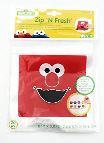 Sesame Street Recloseable Zip 'N Fresh Bags & Stickers! Trea