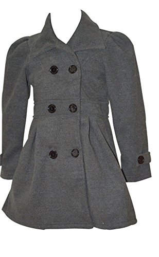 Pea Coat for Girls (Size 8, Charcoal)