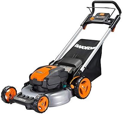 WORX WG774 Intellicut 56V Cordless 20 Lawn Mower with Mulching Capabilities, Orange and Black