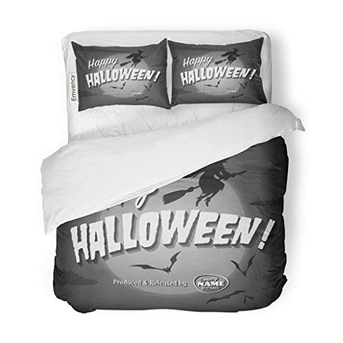 SanChic Duvet Cover Set Retro Movie Ending Screen Happy Halloween Vintage Witch Decorative Bedding Set with 2 Pillow Cases Full/Queen Size -
