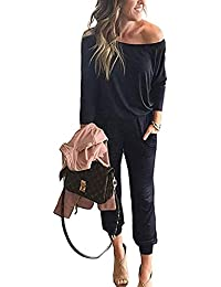 Women's Casual Long Sleeve Jumpsuit Crewneck One Off Shoulder Elastic Waist Stretchy Romper with Pockets