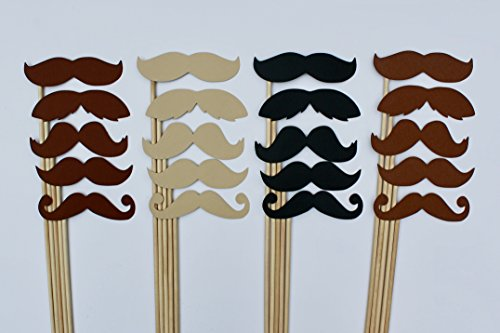 20 Mustaches Photo Props for Photo Booth by Paper and -