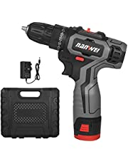Electric Drill,12V Brushless Electric Drill Cordless Drill Driver Handheld Portable Power Drill Two-Speed Rechargeable Drill with LED Light 25+1 Torque 1500mAh Lithium-ion Battery