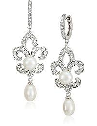 Platinum-Plated Sterling Silver Swarovski Zirconia Freshwater Pearl Fleur-de-Lis Bridal Earrings