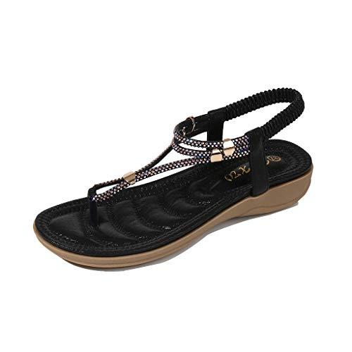 - Toimothcn Women Flip Flops Sandals Bohemian Ankle T Strap Thong Shoes Ladies Strappy Flat Shoes (Black,US:6)