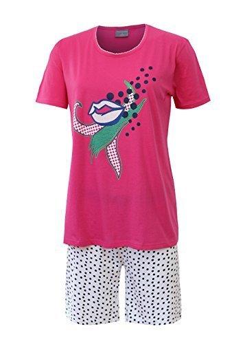 Schlafanzug kurz Damen Pyjama Kurzarm Damen Nachthemd kurzer aus 100/% Baumwolle softweich Gr S M L XL