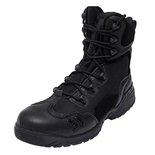 emansmoer Men's Military Tactical Combat Lace-up High-top Shoes Boots Waterproof Outdoor Sport Hiking Trekking Boots Black k9J2YK67v