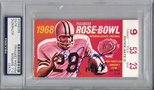 O.J. Simpson Signed USC Trojans 1968 Rose Bowl Ticket RB MVP PSA Slab