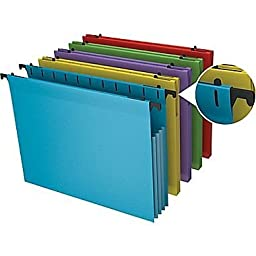 Staples Poly Expanding Hanging File Pockets, Letter, Assorted, 5/Pack