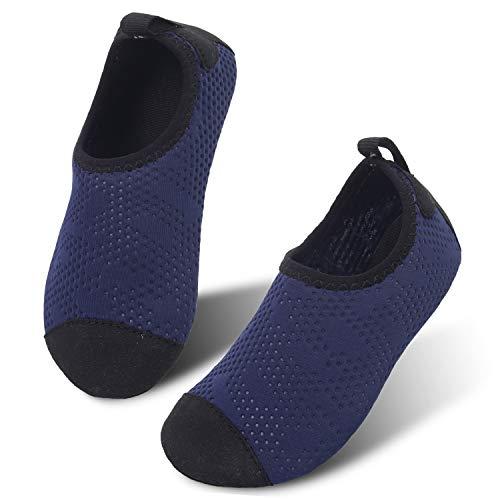 (JIASUQI Aqua Beach Boating Water Shoes Socks for Kids Boys Girls Dot Navy US 5-5.5 M Toddler)