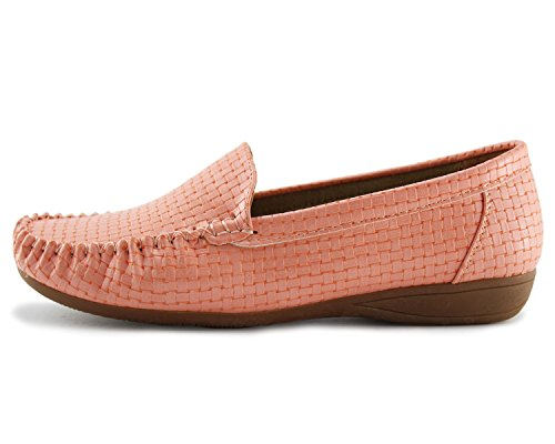 Slip Flat Shoes Casual Driving on Pink Jabasic Women's Loafers TZO7Ow