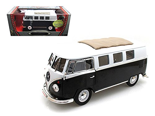 Ltd Sunroof (1962 Volkswagen Microbus Black with Sliding Fabric Sunroof Limited Edition to 600pc 1/18 Model by Road Signature)