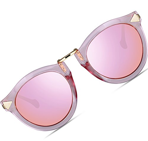 ATTCL Vintage Fashion Round Arrow Style Polarized Sunglasses for Women 1189-Pink