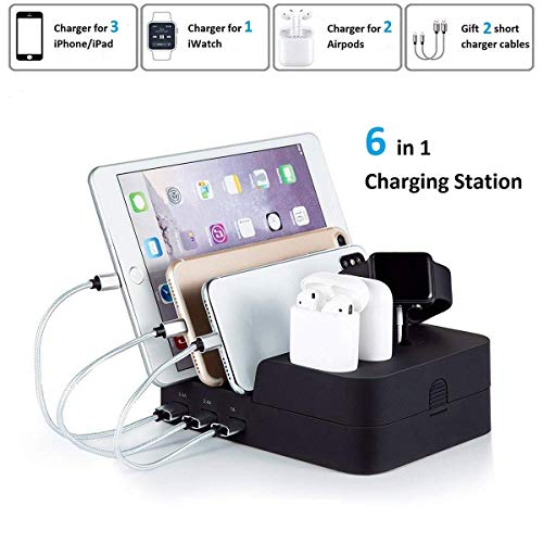 Marstree 6 Port USB Charging Station Multi Device USB Charging Dock Station HUB Desktop Charging Stand Organizer Compatible for iPhone ipad Airpods iwatch Kindle Tablet Multiple Devices ()