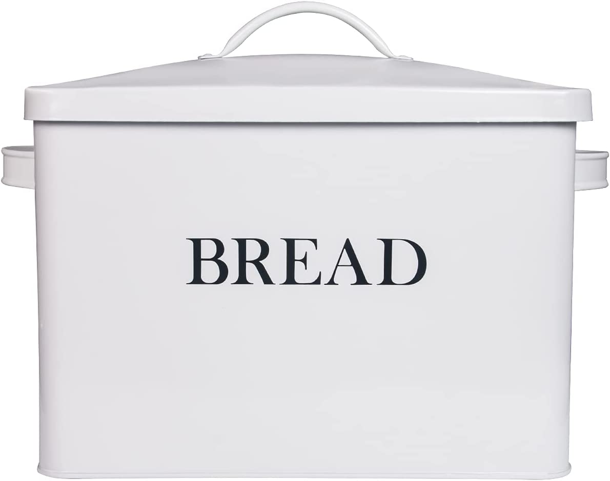 Extra Large White Bread box Vertical Vintage Metal Bread Bin With Lid - Holds 2 Loaves - Countertop Space Saving Farmhouse Breadbox Bread Holder Container Counter Organizer Matches Most Decor Theme