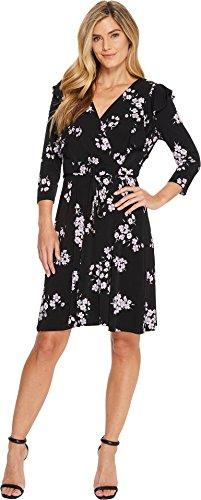 (Ivanka Trump Women's Matte Jersey Printed 3/4 Sleeve Faux Wrap Ruffle Front Dress, Black/Lilac, XL)