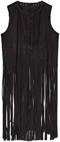 Persun Women's Black Faux Suede Hole Tasseled Hem Collarless Waistcoat