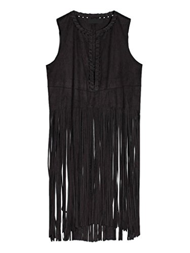 PERSUN Women's Black Collarless Strappy Tassel Hem Suedette Waistcoat,Small