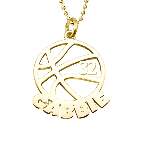 - Ouslier 925 Sterling Silver Personalized Unisex Men Cut Out Basketball Name Necklace Pendant with Number (Golden)