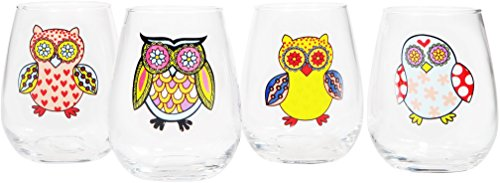 Home Essentials & Beyond 18 oz Wanderlust Assorted Owl Stemless Wine Glass (Set of 4), (Owl Glasses)