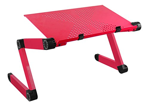 Portable Laptop Desk Folded Breakfast Tray Notebook Computer Stands,Height Adjustable Metal Stands for Sofa,Bed & Recliner, Cooling Pad Reading Stands for Home Office Use