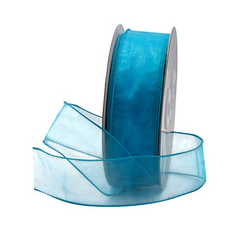 Turquoise Blue Organza Wired Sheer Ribbon 1.5