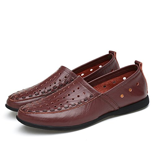 EU Hongjun mocasín Cuero Plantilla Hombres Slip para on Mocasines tamaño Mocasines 41 Style de de Dark Color shoes los 2018 Brown Gamuza Breathable Hombre Genuino 4qSr4xFw