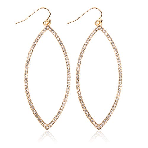 (Sparkly Simple Lightweight Geometric Open Hoop Drop Earrings - Cut-Out Dangles Teardrop/Pear/Pointy Oval/Marquise/Circle Cubic Zirconia Crystal/Multi Rhinestone/Acrylic (Pointy Leaf - Gold Clear) )