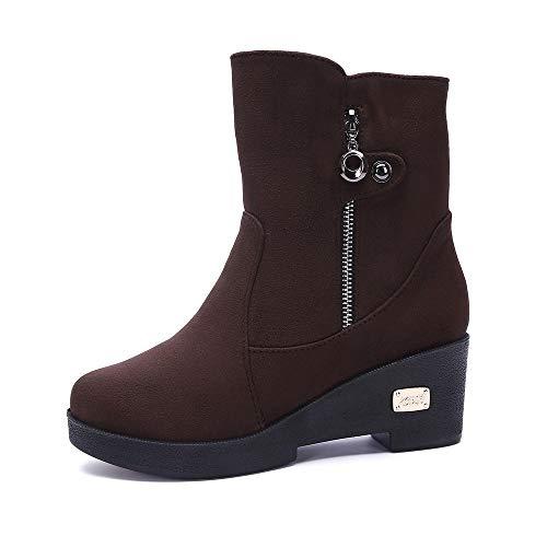 LONGDAY ⭐ Women's Block Heels Winter Boots Slouchy Knee Suede Slouch Boot Buckles Booties Comfy Side Zipper Warm Shoes Coffee
