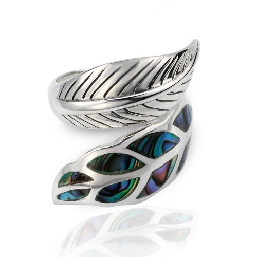 (Chuvora Women's 925 Sterling Silver Genuine Abalone Shell Wrap Leaf Ring, Adjustable Sizes 6-9)