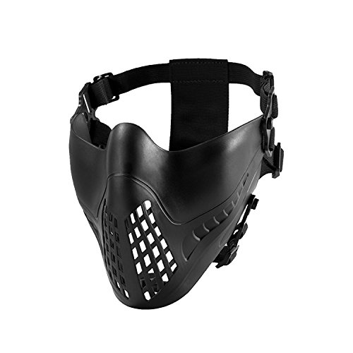 - OneTigris INTIMIDATOR Half-face Mask for Fast Helmet Airsoft Paintball Wargame Cosplay (Black)