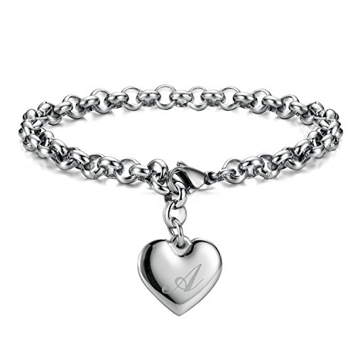 Monily Initial Charm Bracelets Stainless Steel Heart Letters A Alphabet Bracelet for Women]()