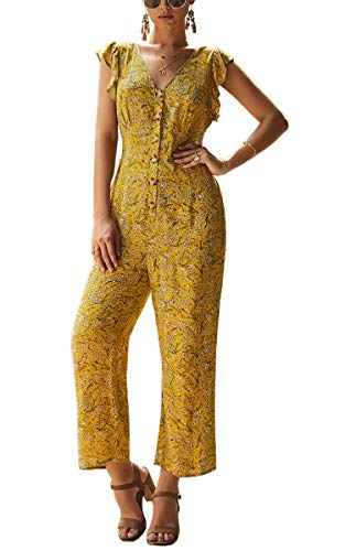Angashion Women's Casual Floral Button Down V Neck Ruffle Cap Sleeve Wide Leg Long Pants Playsuit Rompers Jumspuits Yellow L