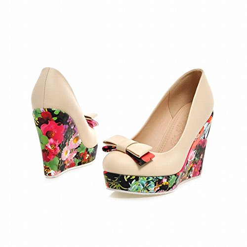 Latasa Womens Fashion Floral Bow Round-toe Platform Wedge Pumps Shoes Beige 4g5TWZHlH