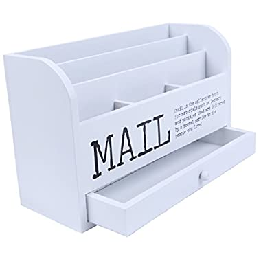 Mail Organizer - 3 Tiered White Letter File Wooden Desk Compartment Sorter Organizer Storage Drawer- 11