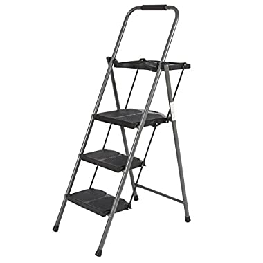Best Choice Products Shade 3 Step Ladder Platform Lightweight Folding Stool 330 LBS Cap Space Saving w/Tray