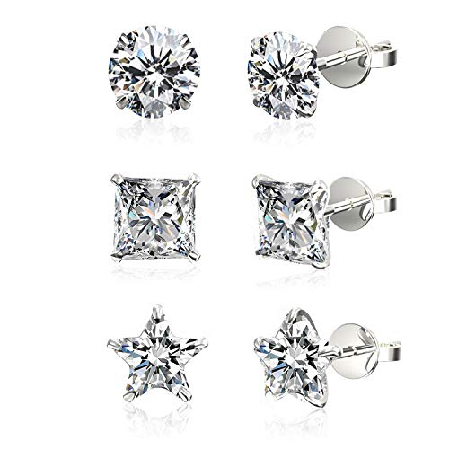 (Set of 3 Pairs .925 Sterling Silver Cubic Zirconia Stud Earrings in Round, Princess, Star Shapes,)