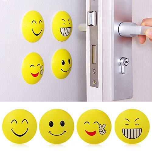 (Sharp Case - 4pcs Rubber Door Handle Knob Smile Face Emoji Sticker Crash Pad Wall Protector Bumper Guard Anti - Circles Alphabet Window Elephant Yoga Wall Decorations LashesVehicles)