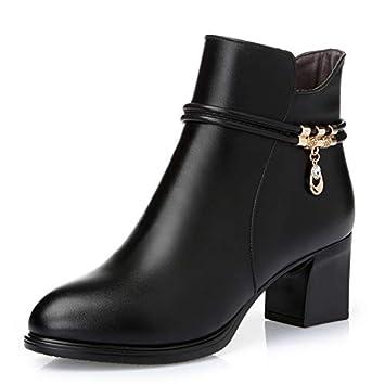 Shukun Botines Zapatos de Madre Zapatos de algodón Otoño e Invierno Grueso con Botas Cortas Zapatos