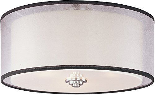 - Maxim 23031SWSN Orion 3-Light Flush Mount, Satin Nickel Finish, Satin White Glass, MB Incandescent Incandescent Bulb , 8.5W Max., Wet Safety Rating, 3000K Color Temp, Shade Material, 595 Rated Lumens