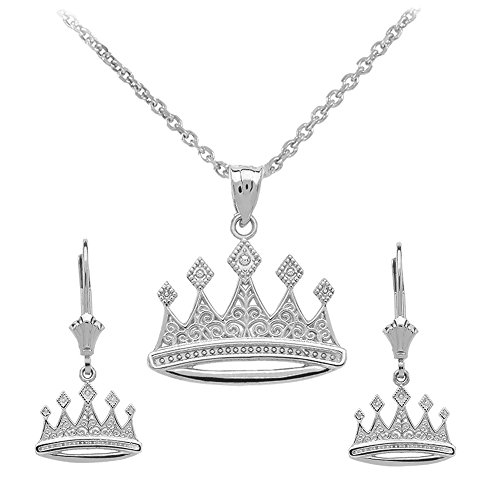 Crown Charm Pendant Necklace - Royal 925 Sterling Silver Crown Charm Pendant Necklace and Earring Set, 22