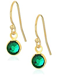 Halos and Glories May Crystal Shiny Gold Drop Earrings