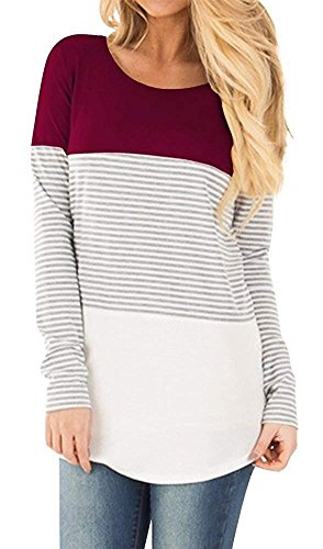 Gemijack Womens Tops Casual Long Sleeve Cotton Color Block Striped T Shirt Tunic Blouse