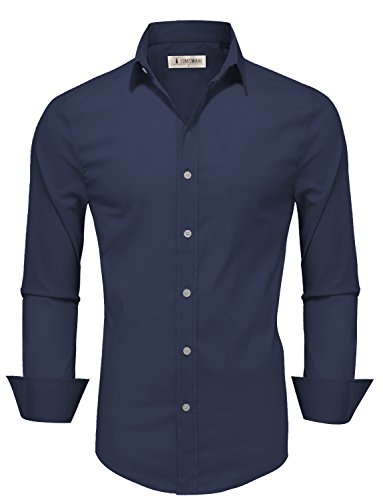Mens Fitted Shirts - Tom's Ware Mens Casual Slim Fit Basic Dress Shirts TWFD001-1-CMS07-NAVY-US M