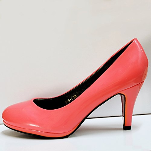 Shoes Rock Heel Coral Mid Casual 9161 on Styles Platform Pumps Court Party Patent Size zr4wxzT