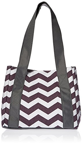 (Fit & Fresh Women's Venice Insulated Lunch Bag, Stylish Adult Lunch Bag, Plum & White Chevron)