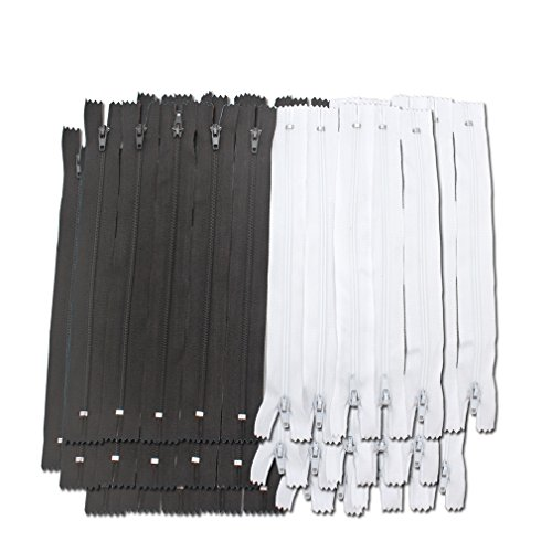 Amariver Black and White Nylon Coil Zippers, 100Pcs 9 Inches Nylon Coil Zippers for Tailor Sewer Sewing Crafter Special, 2 Colors, 50 Pcs Per Color ()